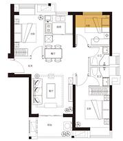 C6户型 91平米3房2厅2卫--户型图