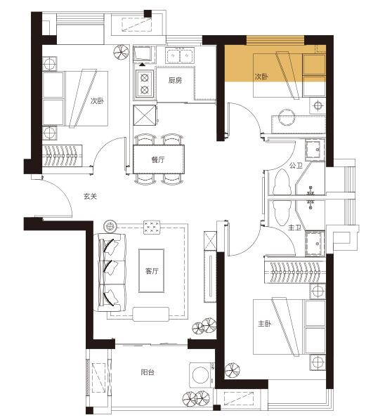 C6户型 91平米3房2厅2卫