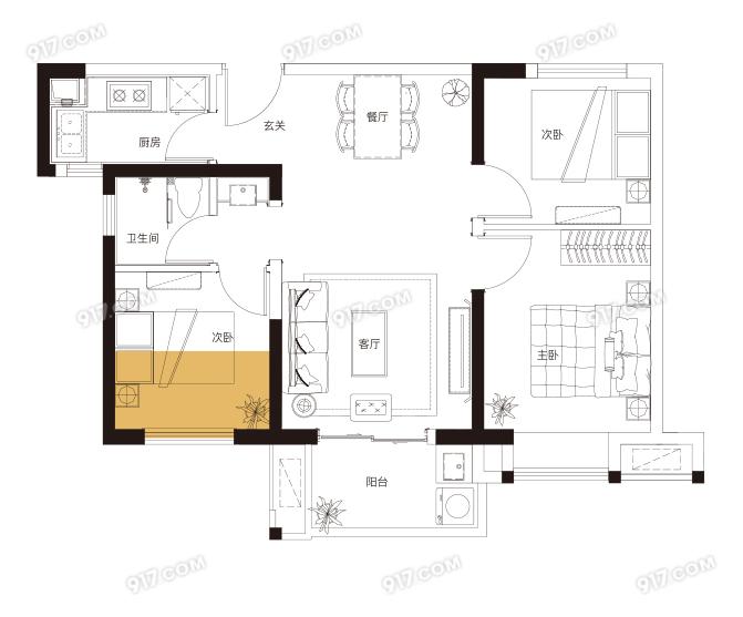 D户型 82平米3房2厅1卫