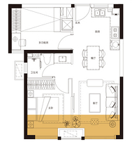 E户型 67平米2房2厅1卫--户型图