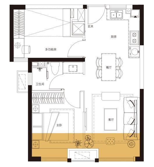 E户型 67平米2房2厅1卫