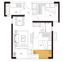 E户型 70平米2房2厅1卫--户型图