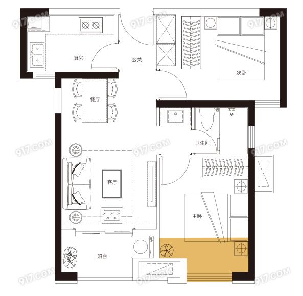 E户型 70平米2房2厅1卫