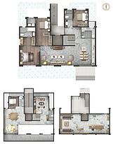 叠墅A户型145㎡三房两厅--户型图