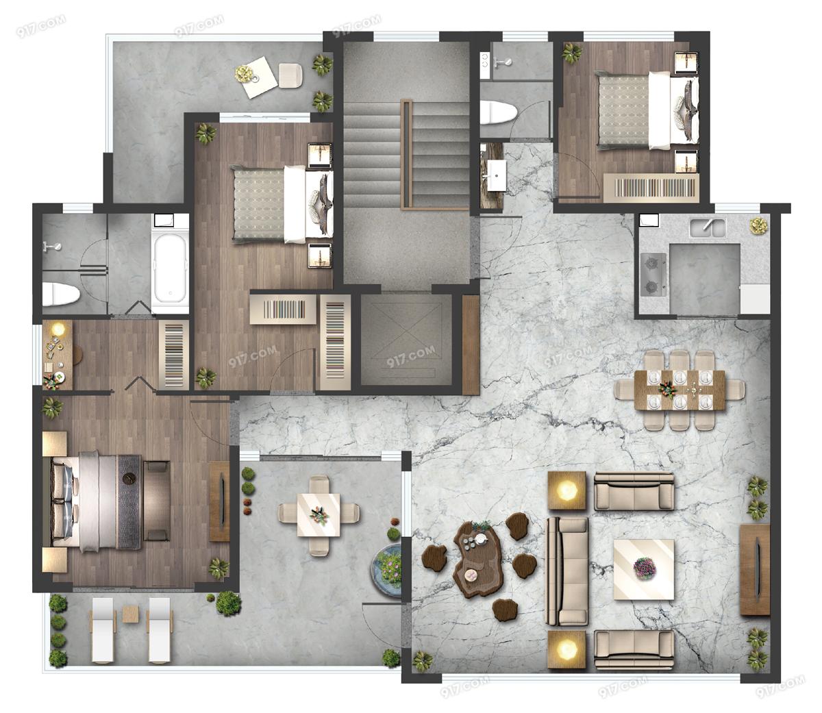 叠墅C户型145㎡三房两厅