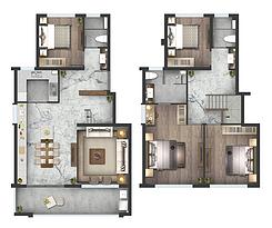 叠墅B户型145㎡四房两厅--户型图