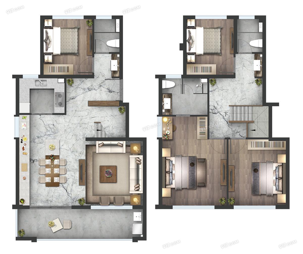 叠墅B户型145㎡四房两厅