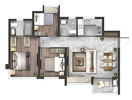 高层E1户型93㎡三房两厅--户型图