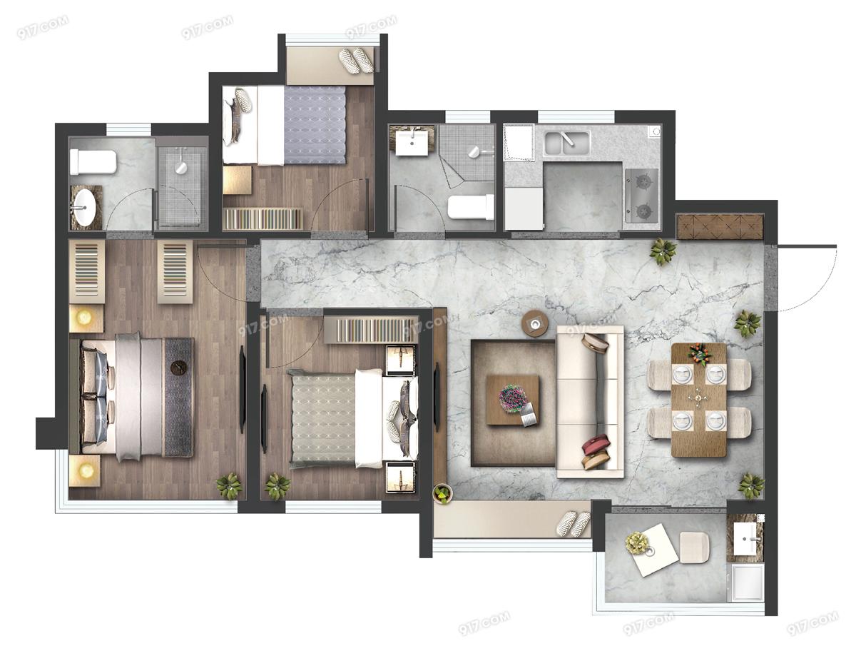 高层E1户型93㎡三房两厅
