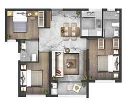 高层F户型93㎡三房两厅--户型图