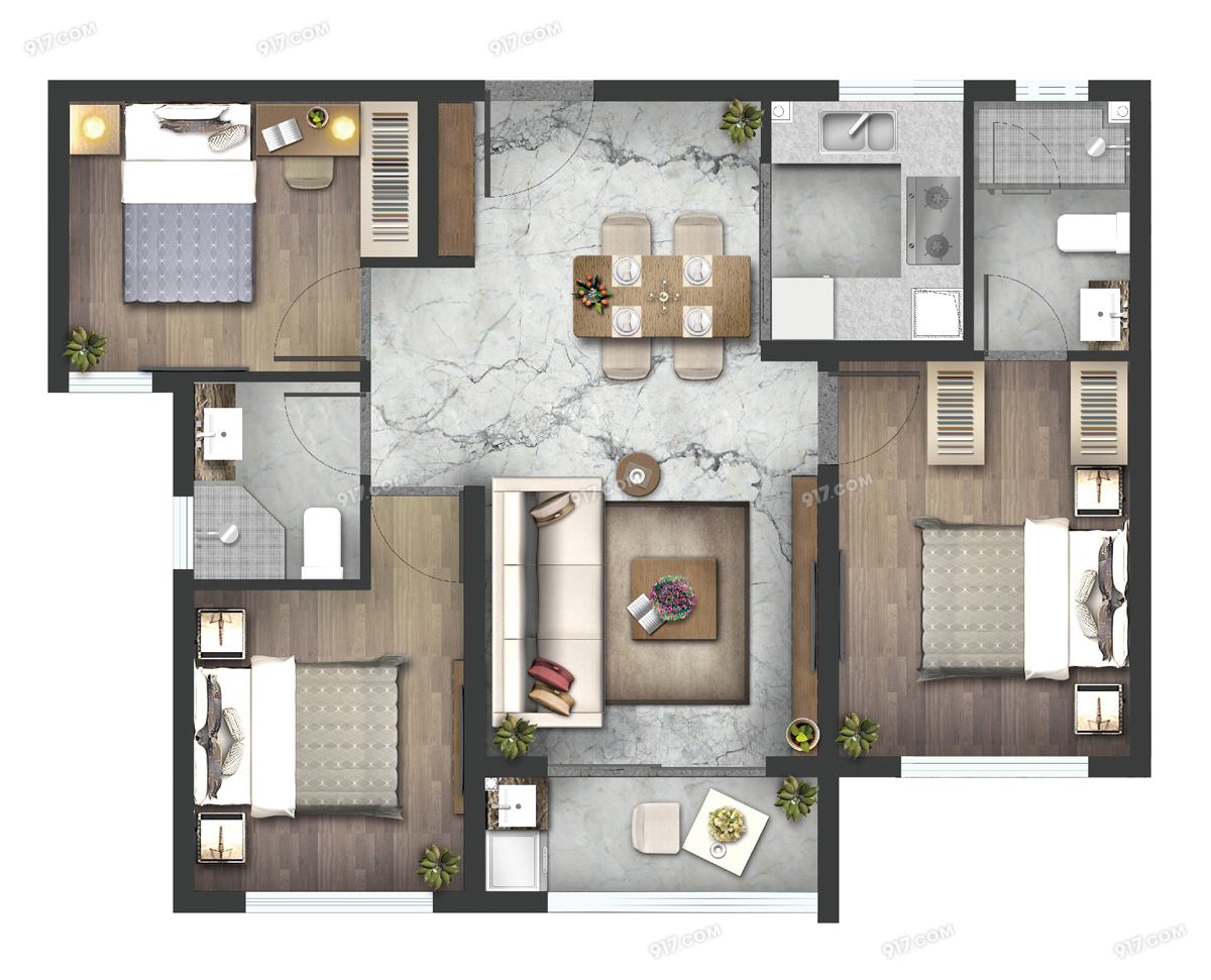 高层F户型93㎡三房两厅