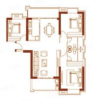 01户型135㎡三房两厅--户型图
