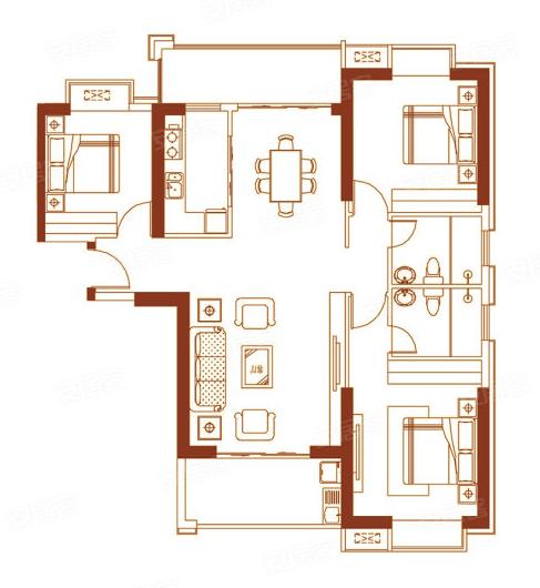 01户型135㎡三房两厅