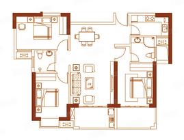 02户型118㎡三房两厅--户型图