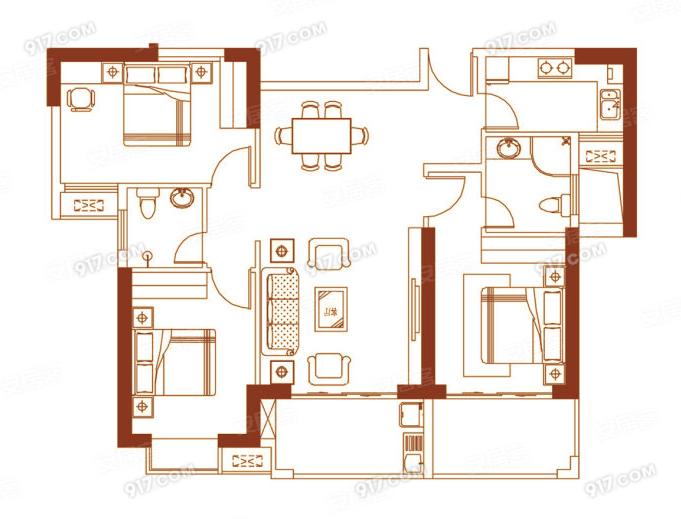02户型118㎡三房两厅