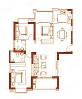 03户型127㎡三房两厅--户型图