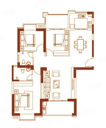 03户型127㎡三房两厅