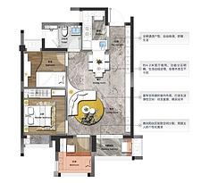 78㎡三房两厅一卫--户型图