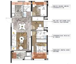 88㎡三房两厅两卫--户型图