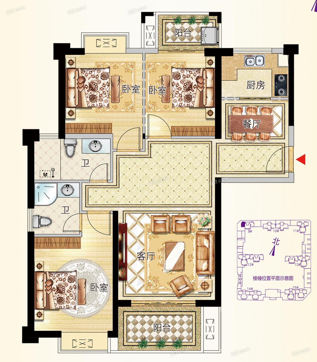 9号楼01户型115㎡三房
