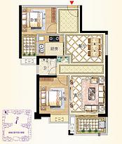 9号楼02户型88㎡两房--户型图