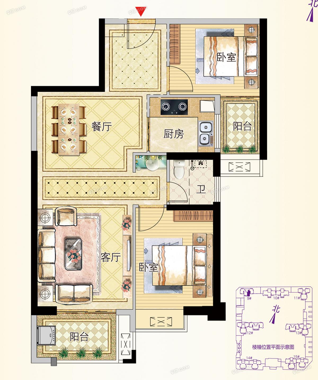 9号楼03户型88㎡两房