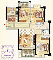 9号楼04户型115㎡三房--户型图
