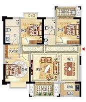 11号楼01户型116㎡三房--户型图