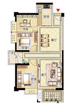 11号楼02户型98㎡三房--户型图