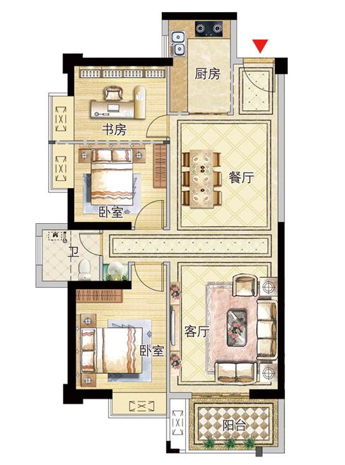 11号楼02户型98㎡三房