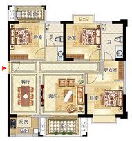 11号楼04户型121㎡三房--户型图