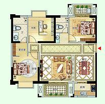 12号楼01户型118㎡三房--户型图