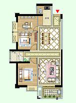12号楼02户型96㎡三房--户型图