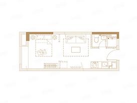 A户型 37平 一室一厅一卫--户型图