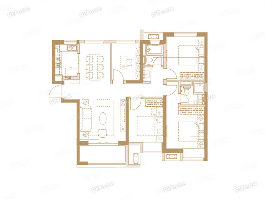 G户型 113平 四室两厅两卫