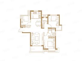 F户型 95平 三室两厅两卫--户型图