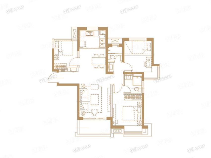 F户型 95平 三室两厅两卫