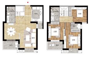123㎡复式 三房两厅两卫--户型图