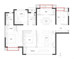 E户型130㎡四房--户型图