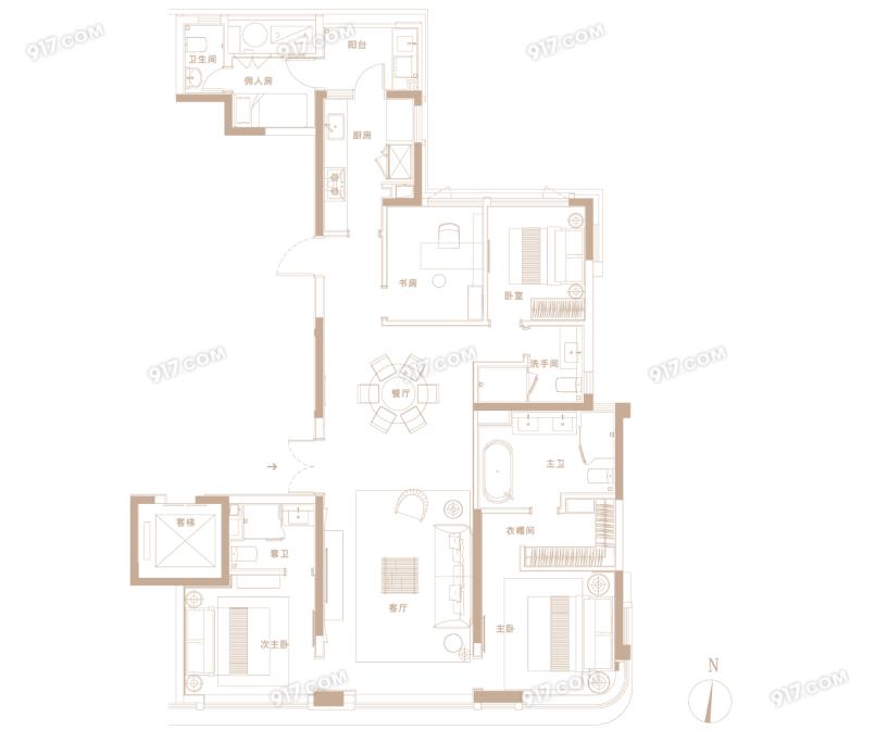 A户型186㎡ 4房2厅3卫