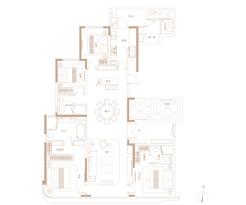 C户型206㎡ 4房2厅3卫--户型图
