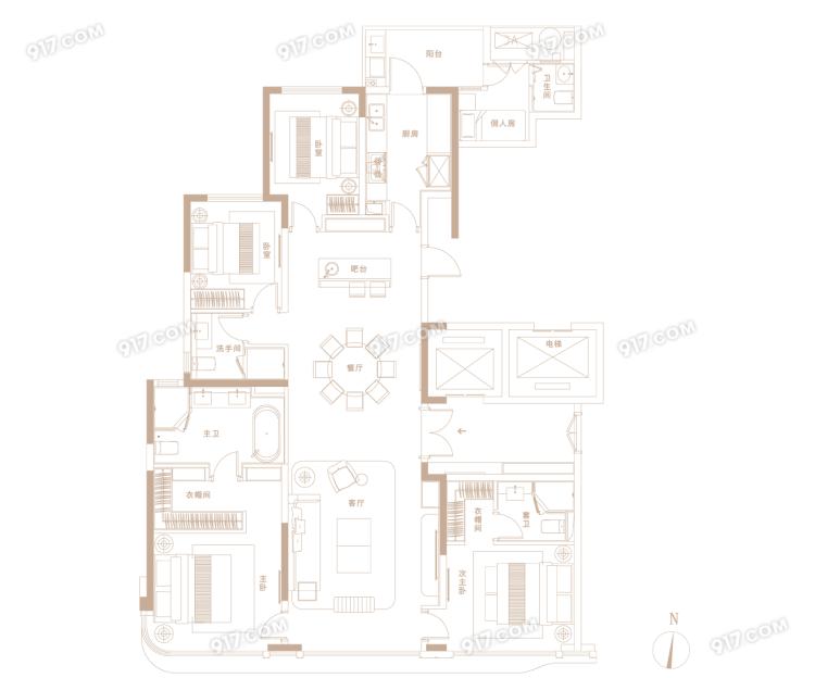C户型206㎡ 4房2厅3卫