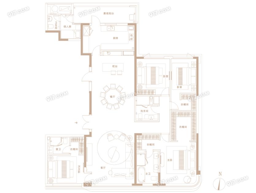 D户型260㎡ 4房2厅3卫