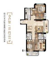 D户型151㎡ 3房2厅1卫--户型图