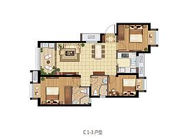 C1户型 96平三室两厅两卫--户型图
