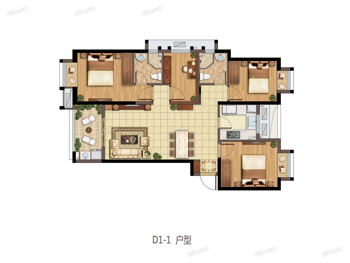 D1户型 116平四室两厅两卫