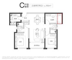 C户型105㎡三房--户型图