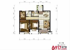 3房1厅1卫89平--户型图