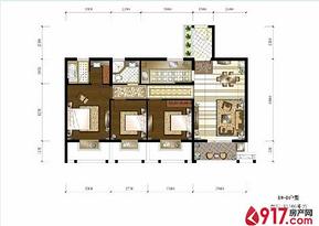 3房1厅1卫108平--户型图