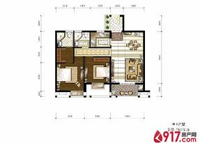 两房两厅两卫约89平--户型图